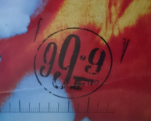 99.9 F album art detail of stencil graffiti-inspired graphic